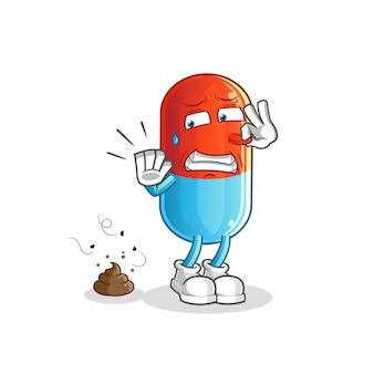 Remédio com ilustração de resíduos fedorentos. personagem