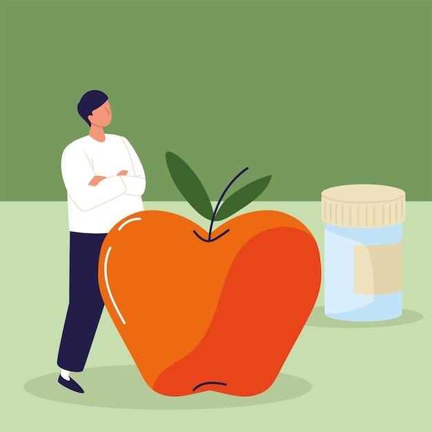 Remédio jovem e maçã