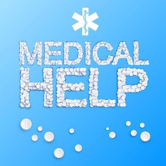 Remédio leve com inscrição de ajuda médica de ilustração de comprimidos e drogas