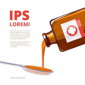 Remédio líquido em uma colher. ilustrações de frasco de medicamento