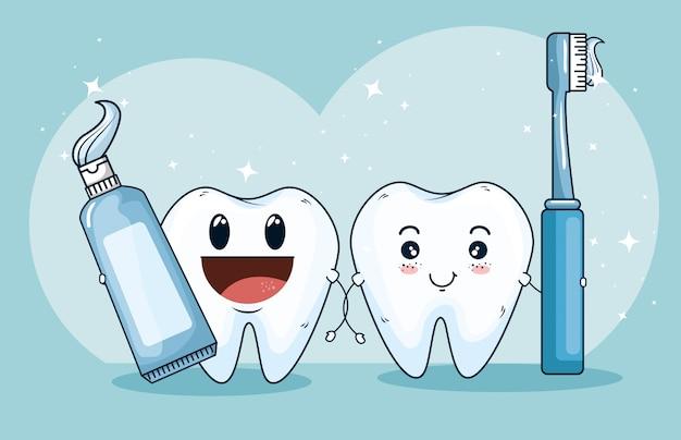 Remédio para tratamento de dentes com creme dental e escova de dentes