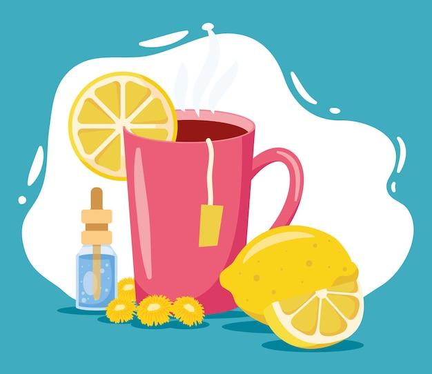 Remédios caseiros de essência e chá quente