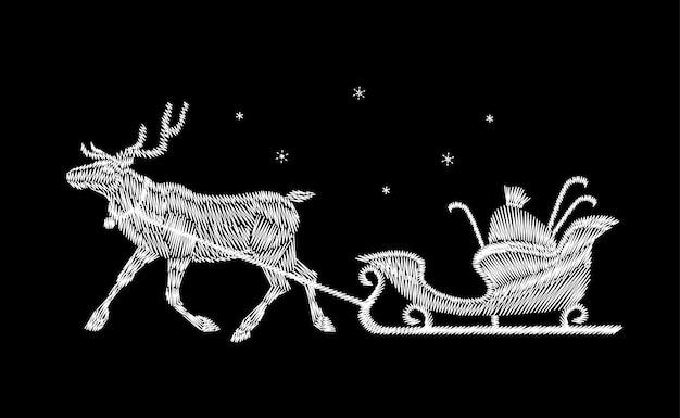 Remendo do bordado da entrega do presente do trenó do natal da rena. veado de decoração de moda preto branco ano novo