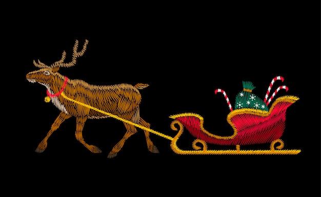 Remendo do bordado da entrega do presente do trenó do natal da rena. vermelho preto ano novo moda d