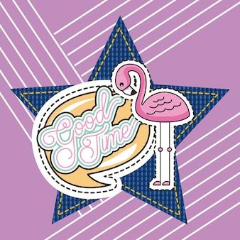 Remendo moda flamingo bom tempo denim estrela