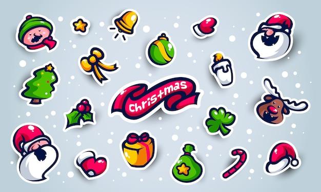Remendos e adesivos fofos de elementos natalinos