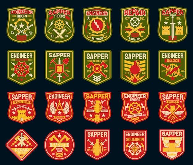 Remendos militares de sapador ou engenheiro de combate e emblemas do exército.