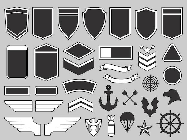 Remendos militares. emblema do soldado do exército, emblemas de tropas e conjunto de elementos de design de remendo de insígnias da força aérea