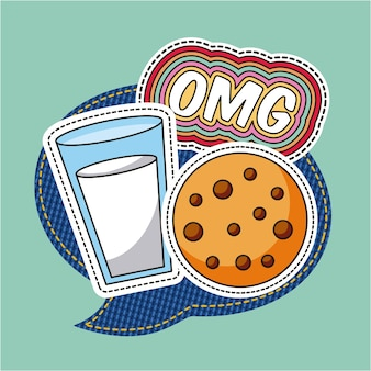 Remendos omg leite cookie comida discurso bolha