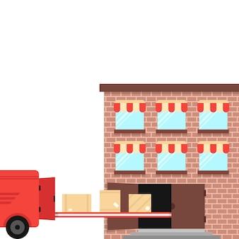 Remessa a partir do armazém no veículo de entrega. conceito de transportadora, importação, trabalho, van, reboque, caixa, palete, locação, transporte, depósito. ilustração em vetor design moderno tendência estilo plano no fundo branco