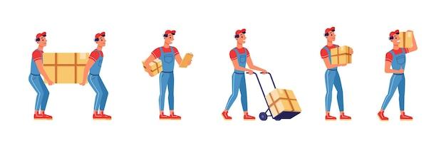 Remessa de entrega de encomendas de caixa para homens de serviço movers