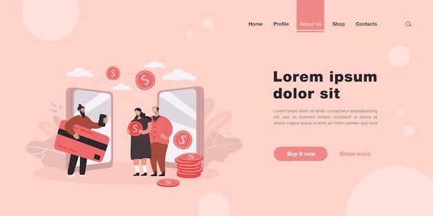 Remessa e transferência de dinheiro entre a página de destino de parentes em estilo simples