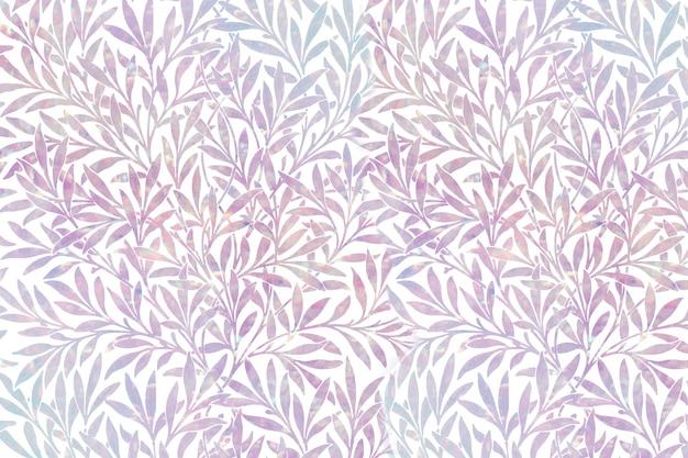 Remix de padrão holográfico de folha vintage com arte de william morris