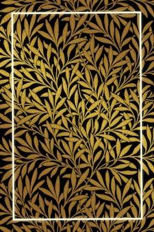 Remix de vetor de padrão de moldura em folha vintage da arte de william morris