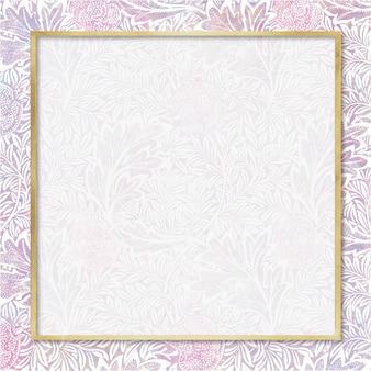 Remix de vetor de quadros de padrão holográfico da natureza a partir de obras de arte de william morris