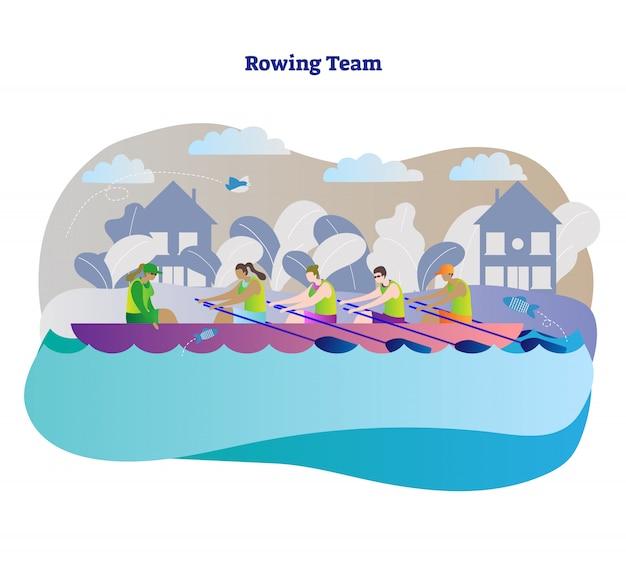 Remo equipe de esportes em barco, ilustração vetorial de conceito