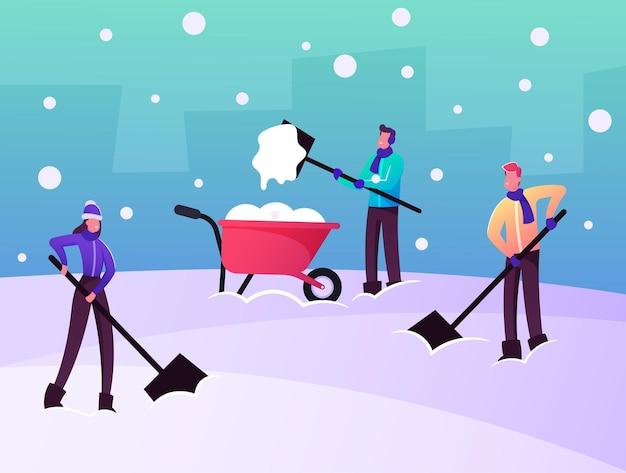 Remoção de neve e gelo após ilustração de blizzard. personagens alegres removem montes de neve com pás do solo limpe o quintal da neve