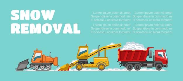 Remoção de neve, inscrição, informações básicas, clima de inverno, veículos de remoção de neve, ilustração. caminhão grande, clima frio, limpando a cidade dos efeitos da queda de neve.