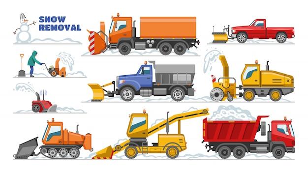 Remoção de neve vector inverno máquina trator de equipamento limpa-neve