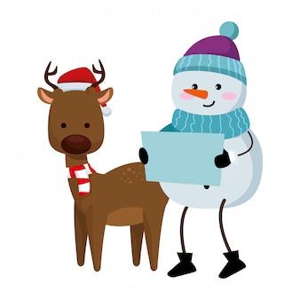 Rena bonita com personagens de natal boneco de neve