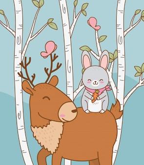 Rena bonita no personagem da floresta de campo