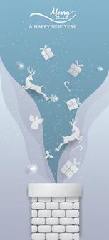 Rena branca, papai noel, floco de neve e decoração saltam da chaminé azul banner