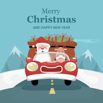 Rena, cartão natal, dirigindo carro, com, papai noel