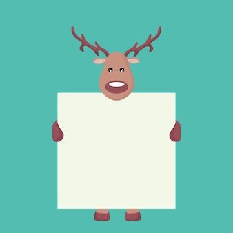 Rena, cartão natal, segurando, um, branca, sinal