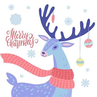 Rena com bolas de natal em chifres e flocos de neve decorações