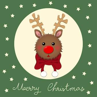 Rena com lenço vermelho no cartão de saudação de natal verde.