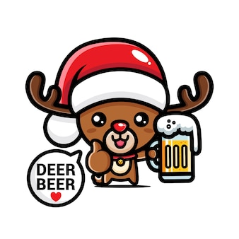 Rena de natal fofa bebendo cerveja