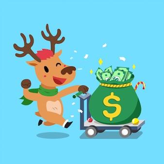 Rena de personagem de desenho animado feliz natal empurrando saco de dinheiro