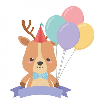Rena dos desenhos animados com feliz aniversário