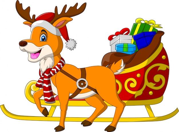 Rena dos desenhos animados com trenó de natal e presentes