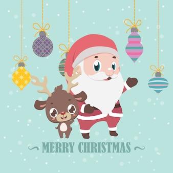 Rena e santa saudação de natal