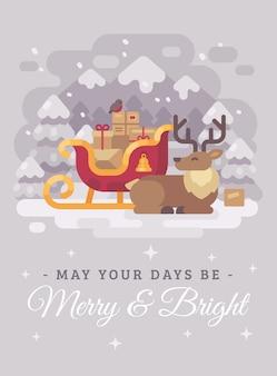 Rena feliz de papai noel perto de um trenó com presentes. cartão de natal plana illus