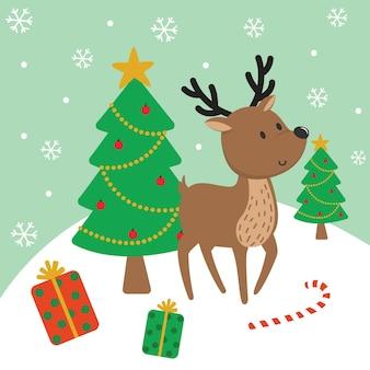 Rena fofa e árvore de natal, ilustração vetorial