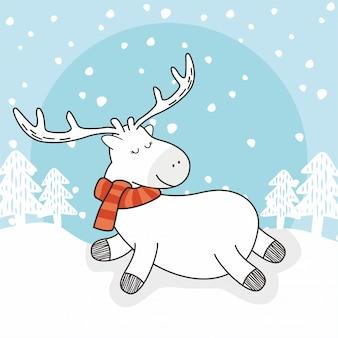 Rena inverno doodle veado dos desenhos animados