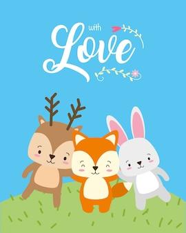 Rena, raposa e coelho, animais fofos, estilo cartoon e plana, ilustração