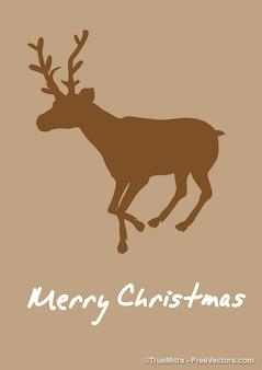 Rena silhueta cartão de natal