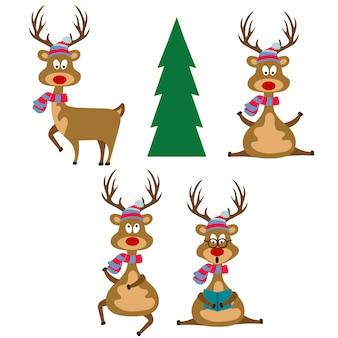 Renas design plano engraçado vestida para o natal