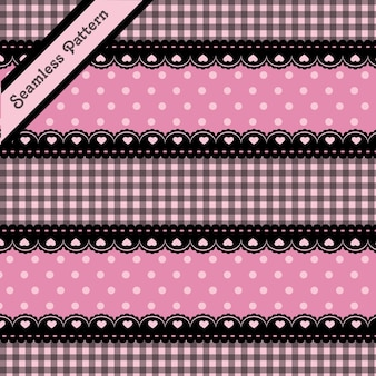 Renda preta fofa e padrão sem emenda rosa premium vector