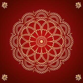 Renda redonda decorativa com desenho de mandala em arabescos