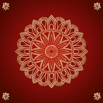 Renda redonda decorativa com desenho de mandala floral em arabescos