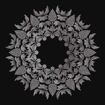 Renda redonda decorativa com elementos de damasco e arabescos
