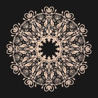 Renda redonda ornamental com elementos de damasco e arabescos