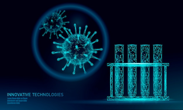 Render de baixo poli de vírus de tubo de ensaio análise laboratorial infecção doença crônica vírus da hepatite gripe influenza infectar organismo, ajudas. medicina moderna da tecnologia da ciência