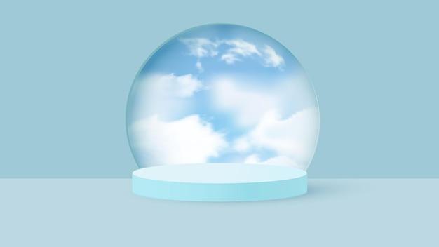 Renderização 3d azul com pódio e cena nublada mínima.