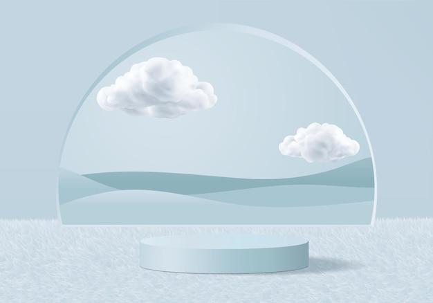 Renderização 3d azul de fundo com pódio e cena de nuvem mínima