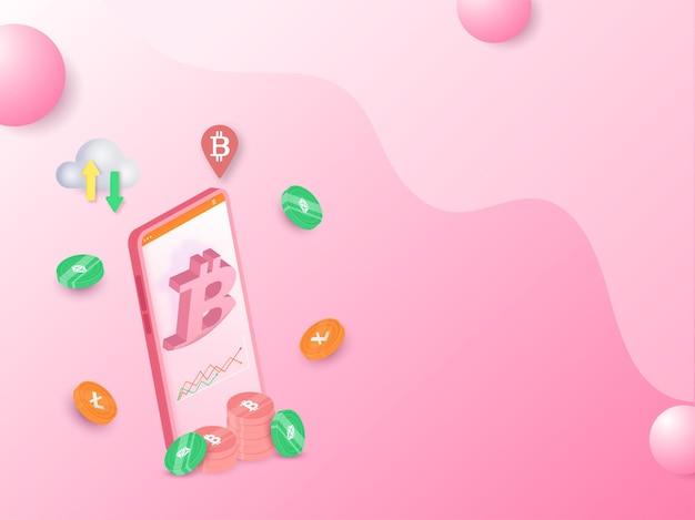 Renderização 3d de smartphone com moedas criptográficas e computação em nuvem no fundo rosa.